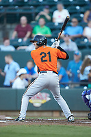 Collin Woody (21) of the Frederick Keys at bat against the Winston-Salem Dash at BB&T Ballpark on July 26, 2018 in Winston-Salem, North Carolina. The Keys defeated the Dash 6-1. (Brian Westerholt/Four Seam Images)