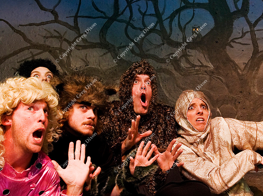 Scott Frazier, Kate Boomsma, Christo River-Paprock, Brandon Barwick, and Christina Beller (left to right) in A Broom Street Halloween on 10/21/11 at Broom Street Theater in Madison, Wisconsin