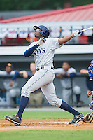 Nic Wilson (44) of the Princeton Rays follows through on his swing against the Burlington Royals at Burlington Athletic Park on July 9, 2014 in Burlington, North Carolina.  The Rays defeated the Royals 3-0.  (Brian Westerholt/Four Seam Images)