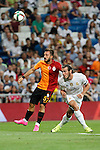 Real Madrid´s Gareth Bale (R) and Galatasaray´s Emre Colak during Santiago Bernabeu Trophy match at Santiago Bernabeu stadium in Madrid, Spain. August 18, 2015. (ALTERPHOTOS/Victor Blanco)