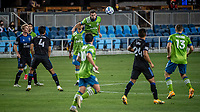 SAN JOSE, CA - OCTOBER 18: Cristian Roldan #7 of the Seattle Sounders rises to head the ball during a game between Seattle Sounders FC and San Jose Earthquakes at Earthquakes Stadium on October 18, 2020 in San Jose, California.