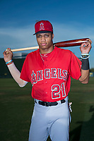 AZL Angels outfielder Jordyn Adams (21) poses for a photo before an Arizona League game against the AZL Padres 2 at Tempe Diablo Stadium on July 18, 2018 in Tempe, Arizona. The AZL Padres 2 defeated the AZL Angels 8-1. (Zachary Lucy/Four Seam Images)