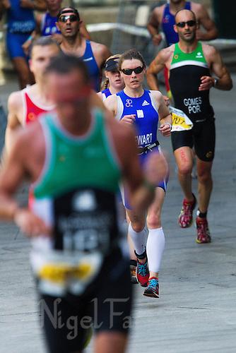 26 JUN 2011 - PONTEVEDRA, ESP - Danielle Stewart, gold medalist in the women's 25-29 category at the European Age Group Olympic Distance Triathlon Championships (PHOTO (C) NIGEL FARROW)