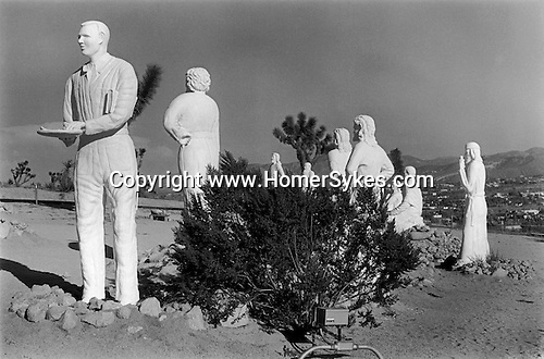 Yucca Valley, California USA 1969. Desert Christ Park.  The park was sculpted and created by Antone Martin, a former aircraft worker who died in 1961 at the age of 74. He became a born again Christian depicts himself as Judas with Christ and his disciples..