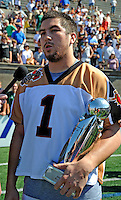 24 August 2008: Rochester Rattlers' Midfielder Joe Walters is interviewed by the media after celebrating the win over the Denver Outlaws and being named MVP at the Championship Game of the Major League Lacrosse Championship Weekend at Harvard Stadium in Boston, MA. The Rattles took control of the second half and outscored the Outlaws 16-6 to take the league honor for the 2008 season...Mandatory Photo Credit: Ed Wolfstein Photo