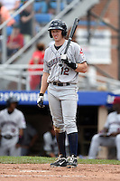 Mahoning Valley Scrappers shortstop Austin Fisher (12) at bat during a game against the Jamestown Jammers on June 16, 2014 at Russell Diethrick Park in Jamestown, New York.  Mahoning Valley defeated Jamestown 2-1.  (Mike Janes/Four Seam Images)
