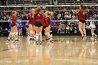 STANFORD, CA - NOVEMBER 17: Stanford, CA - November 17, 2019: Kathryn Plummer, Holly Campbell, Kate Formico, Meghan McClure, Sidney Wilson at Maples Pavilion. #4 Stanford Cardinal defeated UCLA in straight sets in a match honoring neurodiversity. during a game between UCLA and Stanford Volleyball W at Maples Pavilion on November 17, 2019 in Stanford, California.