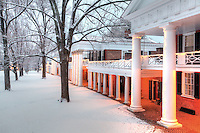 The University of Virginia lawn and pavilions in snow on central grounds.