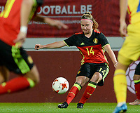 20171020 - LEUVEN , BELGIUM : Belgian Davinia Vanmechelen  pictured during the female soccer game between the Belgian Red Flames and Romania , the second game in the qualificaton for the World Championship qualification round in group 6 for France 2019, Friday 20 th October 2017 at OHL Stadion Den Dreef in Leuven , Belgium. PHOTO SPORTPIX.BE | DAVID CATRY