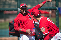 Los Angeles Angels infielder Luis Valbuena (18) jokes with Shohei Ohtani (17) during Spring Training Camp on February 22, 2018 at Tempe Diablo Stadium in Tempe, Arizona. (Zachary Lucy/Four Seam Images)