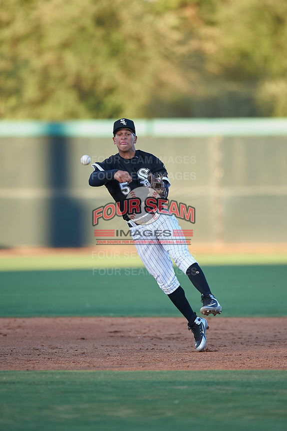 AZL White Sox shortstop Jose Rodriguez (5) throws to first base during an Arizona League game against the AZL Indians Blue on July 2, 2019 at Camelback Ranch in Glendale, Arizona. The AZL Indians Blue defeated the AZL White Sox 10-8. (Zachary Lucy/Four Seam Images)