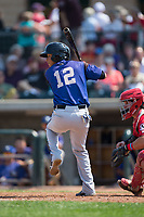 Brandon Leyton (12) of the Missoula Osprey at bat against the Billings Mustangs at Dehler Park on August 20, 2017 in Billings, Montana.  The Osprey defeated the Mustangs 6-4.  (Brian Westerholt/Four Seam Images)