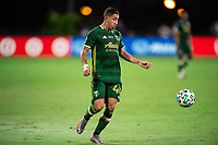 LAKE BUENA VISTA, FL - AUGUST 11: Marvin Loria #44 of the Portland Timbers dribbles the ball during a game between Orlando City SC and Portland Timbers at ESPN Wide World of Sports on August 11, 2020 in Lake Buena Vista, Florida.