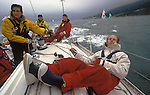 Yacht sailing racing yachts. Crew in The Round the Island Race. Cowes, the Isle of Wight England UK 1980s