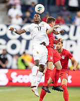 KANSAS CITY, KS - JUNE 26: Jose Fajardo #17 and Wil Trapp #6 go up for a header during a game between Panama and USMNT at Children's Mercy Park on June 26, 2019 in Kansas City, Kansas.