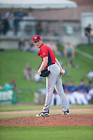 Orem Owlz starting pitcher John Swanda (5) checks the runner at first base during a Pioneer League game against the Missoula Osprey at Ogren Park Allegiance Field on August 19, 2018 in Missoula, Montana. The Missoula Osprey defeated the Orem Owlz by a score of 8-0. (Zachary Lucy/Four Seam Images)