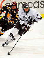 3 January 2009: Colgate Raiders' defenseman Corbin McPherson, a Freshman from Folsom, CA, in action against the Ferris State Bulldogs during the consolation game of the 2009 Catamount Cup Ice Hockey Tournament hosted by the University of Vermont at Gutterson Fieldhouse in Burlington, Vermont. The two teams battled to a 3-3 draw, with the Bulldogs winning a post-game shootout 2-1, thus placing them third in the tournament...Mandatory Photo Credit: Ed Wolfstein Photo