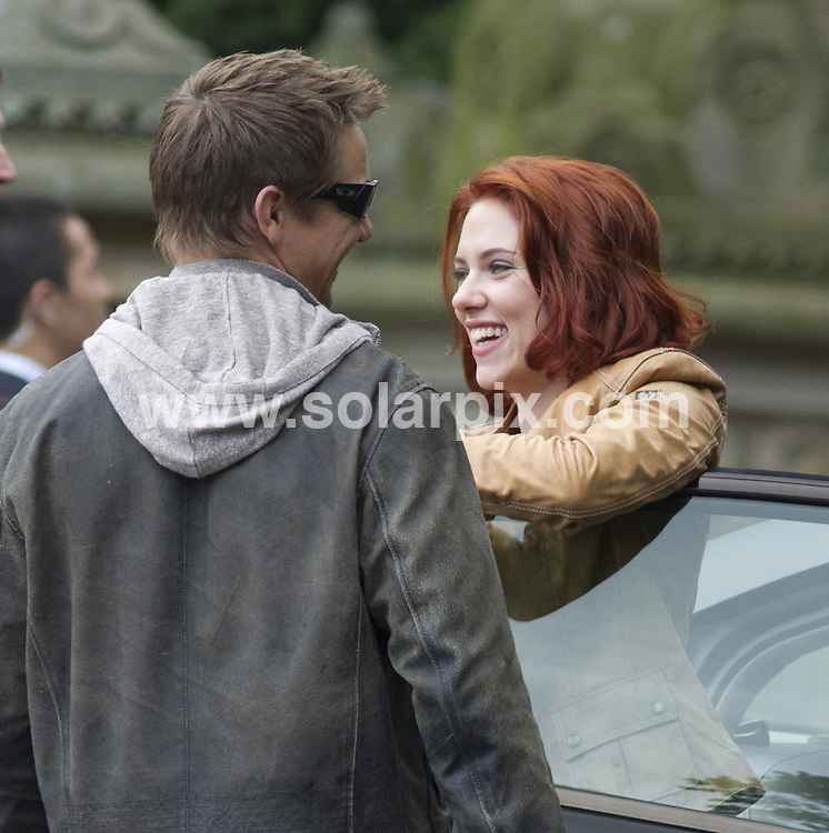 **ALL ROUND PICTURES FROM SOLARPIX.COM**                                             **SYNDICATION RIGHTS FOR UK, AUSTRALIA, DENMARK, PORTUGAL, S. AFRICA, SPAIN & DUBAI (U.A.E) & ASIA (EXCLUDING JAPAN) ONLY**                                                                                  Caption: The Avengers Filming in Central Park in New York City, USA. September 2, 2011                                                                             This pic: Jeremy Renner and Scarlett Johansson                                                                                             JOB REF: 13921 PHZ  Mayer     DATE: 02_09_2011                                                           **MUST CREDIT SOLARPIX.COM OR DOUBLE FEE WILL BE CHARGED**                                                                      **MUST AGREE FEE BEFORE ONLINE USAGE**                               **CALL US ON: +34 952 811 768 or LOW RATE FROM UK 0844 617 7637**
