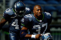 Sep 18, 2005; Seattle, WA, USA; Seattle Seahawks running back Shaun Alexander #37 runs onto the field prior to the game against the Atlanta Falcons at Qwest Field. Mandatory Credit: Photo By Mark J. Rebilas