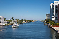 Ft. Lauderdale, Florida.  Intracoastal Waterway Looking North from East Oakland Park Blvd. Bridge.