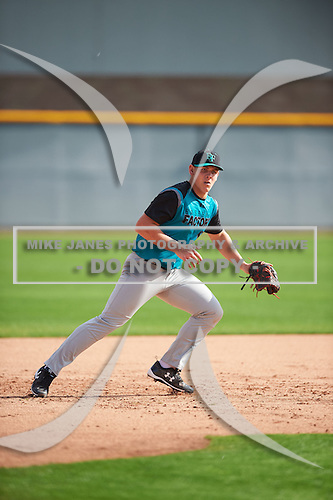 Gustaf Radel (13) of Roosevelt High School in Sioux Falls, South Dakota during the Under Armour All-American Pre-Season Tournament presented by Baseball Factory on January 14, 2017 at Sloan Park in Mesa, Arizona.  (Mike Janes/Mike Janes Photography)