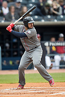 Lehigh Valley IronPigs catcher Jorge Alfaro (24) at bat against the Toledo Mud Hens during the International League baseball game on April 30, 2017 at Fifth Third Field in Toledo, Ohio. Toledo defeated Lehigh Valley 6-4. (Andrew Woolley/Four Seam Images)
