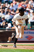 13 April 2008: #8 8 Eugenio Velez of the Giants runs to first base during the San Francisco Giants 7-4 victory over the St. Louis Cardinals at the AT&T Park in San Francisco, CA.
