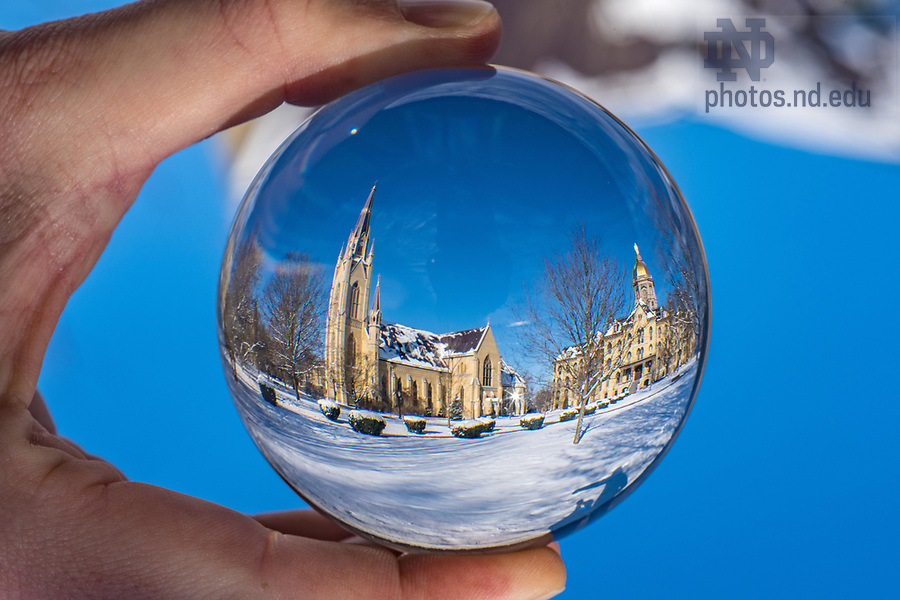 December 10, 2017; Main quad refracted in a crystal ball. 5 of 12 (Photo by Matt Cashore/University of Notre Dame)