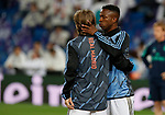 Real Madrid CF's Vinicius Jr and Real Madrid CF's Luka Modric warms up before UEFA Champions League match, round of 16 first leg between Real Madrid and Manchester City at Santiago Bernabeu Stadium in Madrid, Spain. February Wednesday 26, 2020.(ALTERPHOTOS/Manu R.B.)