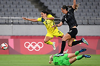 21st July 2021. Tokyo, Japan; Sam Kerr of Autralia challenges Abby Erceg of New Zealand during for womens football match G match between Australia and New Zealand at Tokyo 2020 in Tokyo, Japan