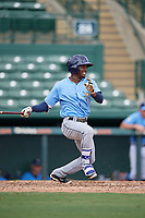 Tampa Bay Rays Vidal Brujan (2) follows through on a swing during an Instructional League game against the Baltimore Orioles on October 2, 2017 at Ed Smith Stadium in Sarasota, Florida.  (Mike Janes/Four Seam Images)