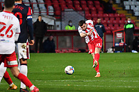 Danny Newton of Stevenage FC shoots wide during Stevenage vs Bolton Wanderers, Sky Bet EFL League 2 Football at the Lamex Stadium on 21st November 2020
