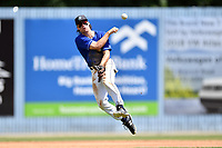 Asheville Tourists shortstop Ryan Vilade (4) throws to first base during a game against the Rome Braves at McCormick Field on September 3, 2018 in Asheville, North Carolina. The Tourists defeated the Braves 5-4. (Tony Farlow/Four Seam Images)