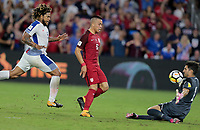 Orlando, FL - Friday Oct. 06, 2017: Román Torres, Bobby Wood, Jaime Penedo during a 2018 FIFA World Cup Qualifier between the men's national teams of the United States (USA) and Panama (PAN) at Orlando City Stadium.