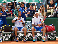 Paris, France, 22 June, 2016, Tennis, Roland Garros, Mens Doubles Jean-Julien Rojer (NED) and his partner Horia Tecau (ROU) (R)<br /> Photo: Henk Koster/tennisimages.com