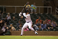 Salt River Rafters shortstop Bryson Brigman (15), of the Miami Marlins organization, at bat in front of catcher Matt Winn (16) during an Arizona Fall League game against the Scottsdale Scorpions at Salt River Fields at Talking Stick on October 11, 2018 in Scottsdale, Arizona. Salt River defeated Scottsdale 7-6. (Zachary Lucy/Four Seam Images)