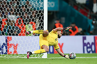 LONDON, ENGLAND - JULY 06: Gianluigi Donnarumma of Italy saves a penalty from Alvaro Morata of Spain in the shoot out  during the UEFA Euro 2020 Championship Semi-final match between Italy and Spain at Wembley Stadium on July 06, 2021 in London, England. (Photo by Alex Morton - UEFA/UEFA via Getty Images)<br /> Photo Uefa/Insidefoto ITA ONLY