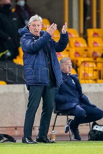 30th October 2020; Molineux Stadium, Wolverhampton, West Midlands, England; English Premier League Football, Wolverhampton Wanderers versus Crystal Palace; Roy Hodgson Manager of Crystal Palace tries to motivate his players