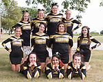 August 28, 2017- Tuscola, IL- The 2017 Tuscola Warrior Football Cheerleaders. Back from left are Caleigh Parsley, Daisy Mast, Meadow Picazo, and Julia Kerkhoff. Middle row from left are Emma Zimmer, Brandi Reinhart, Gabrielle Ainsworth, and Renee Douglas. Front row from left are Ellen Brown, Hannah Saril, and Kaylee Rexroad-Campbell.  [Photo: Douglas Cottle]