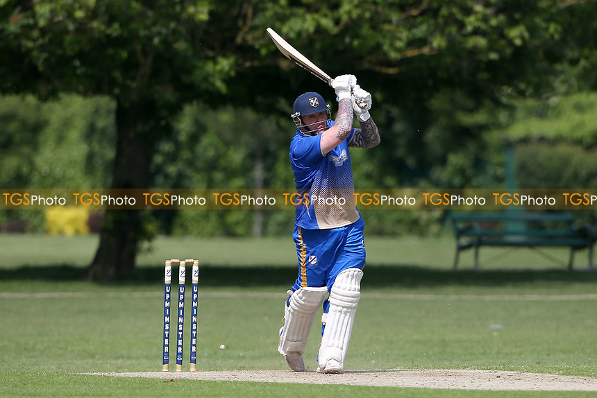 A Ison hits 4 runs for Upminster during Upminster CC vs Fives & Heronians CC, Hamro Foundation Essex League Cricket at Upminster Park on 5th June 2021