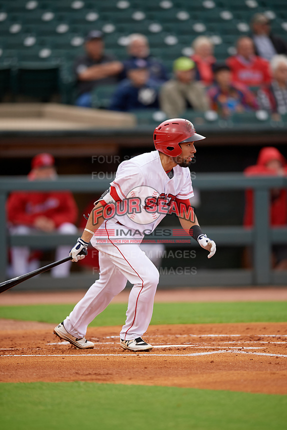 Louisville Bats first baseman Hernan Iribarren (2) bats during a game against the Columbus Clippers on May 1, 2017 at Louisville Slugger Field in Louisville, Kentucky.  Columbus defeated Louisville 6-1  (Mike Janes/Four Seam Images)