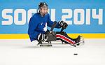 Ben Delaney, Sochi 2014 - Para Ice Hockey // Para-hockey sur glace.<br /> Canada's Para Ice Hockey team practices before the games begin // L'équipe canadienne de para hockey sur glace s'entraîne avant le début des matchs. 02/03/2014.