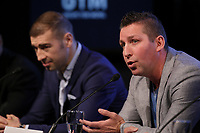 Boxer Lucian Bute  and former boxer Eric Lucas (R) attend the Montreal news conference for the upcoming Badou Jack v Lucian Bute in Washington this month, Wenesday, April 6, 2016.<br /> <br /> Photo : Pierre Roussel<br /> - Agence Quebec Presse