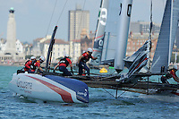 Groupama Team France, JULY 23, 2016 - Sailing: Groupama Team France during day one of the Louis Vuitton America's Cup World Series racing, Portsmouth, United Kingdom. (Photo by Rob Munro/Stewart Communications)