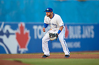 Dunedin Blue Jays third baseman Bradley Jones (13) during a game against the Tampa Tarpons on June 2, 2018 at Dunedin Stadium in Dunedin, Florida.  Dunedin defeated Tampa 4-0.  (Mike Janes/Four Seam Images)