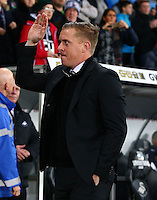Swansea City manager Garry Monk waves to the crowd before the Barclays Premier League match between Swansea City and Leicester City played at The Liberty Stadium on 5th December 2015