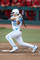 Tomas Frick (52) of the North Carolina Tar Heels follows through on his swing against the North Carolina State Wolfpack at Boshamer Stadium on March 27, 2021 in Chapel Hill, North Carolina. (Brian Westerholt/Four Seam Images)