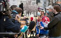 Mathieu Van der Poel (NED/Alpecin-Fenix) interviewed at the race start in Antwerpen<br /> <br /> 105th Ronde van Vlaanderen 2021 (MEN1.UWT)<br /> <br /> 1 day race from Antwerp to Oudenaarde (BEL/264km) <br /> <br /> ©kramon