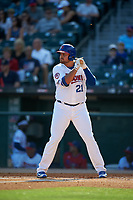 Buffalo Bisons first baseman Rowdy Tellez (21) bats during a game against the Syracuse Chiefs on July 3, 2017 at Coca-Cola Field in Buffalo, New York.  Buffalo defeated Syracuse 6-2.  (Mike Janes/Four Seam Images)
