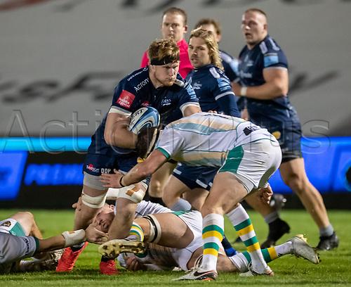 20th November 2020; AJ Bell Stadium, Salford, Lancashire, England; English Premiership Rugby, Sale Sharks versus Northampton Saints;  Dan du Preez of Sale Sharks attacks the Northampton defence